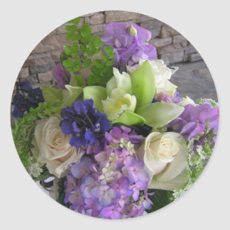Blue, Purple and White Flowers Classic Round Sticker