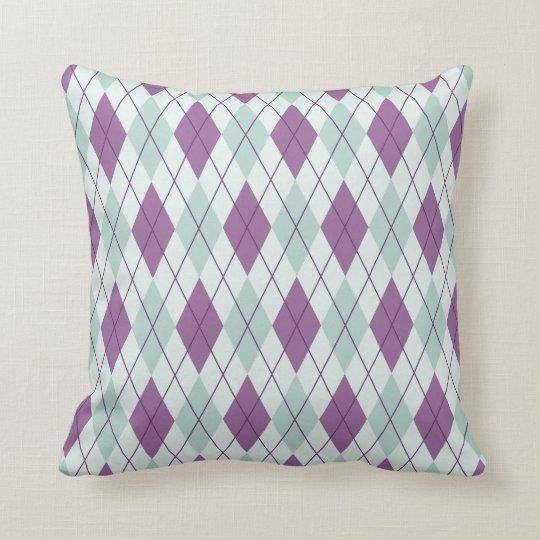 Blue & Purple Argyle Throw Pillow