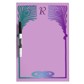 Blue Purple Art Deco Peacock Feathers with Initial Dry Erase Board