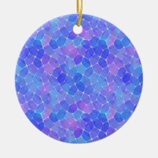 Blue Purple Art Glass Pentagon Monogram Geometric Ceramic Ornament