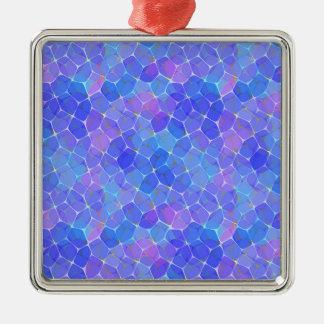 Blue Purple Art Glass Pentagon Monogram Geometric Metal Ornament