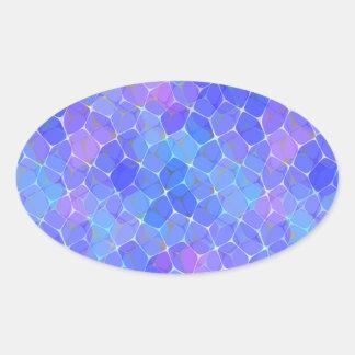 Blue Purple Art Glass Pentagon Monogram Geometric Oval Stickers