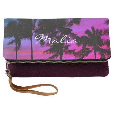 Beach Themed Blue Purple Beach Palms Hawaiian Sky Clutch