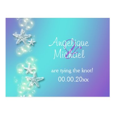 Beach Themed Blue purple beach starfish announcement postcard
