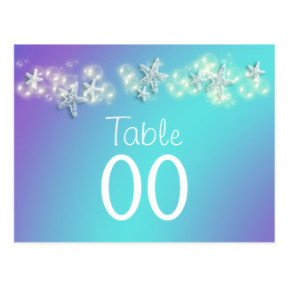 Blue purple beach starfish table number postcard