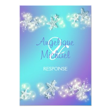 Beach Themed Blue purple beach starfish wedding card