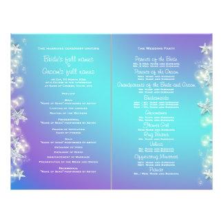 Blue purple beach starfish wedding flyer