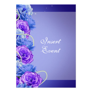 Blue purple birthday engagement wedding personalized invitations
