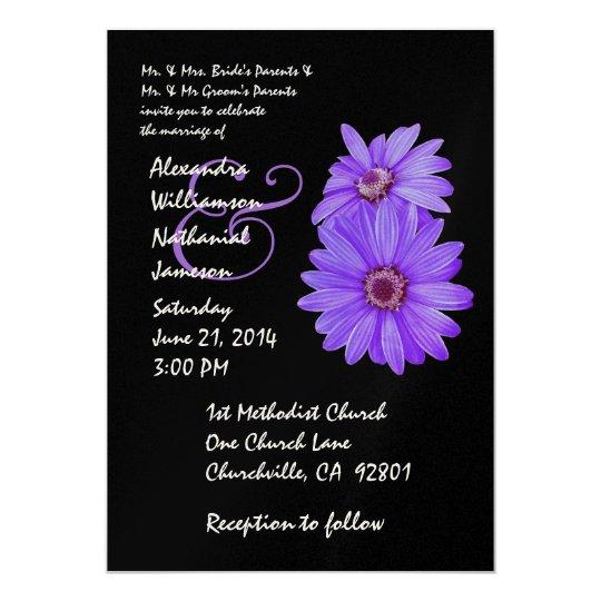 Blue Purple Black Daisy Wedding Invitation