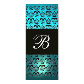 BLUE PURPLE BLACK  DAMASK MONOGRAM ,white turquase Card