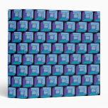 Blue Purple Black Geometric Squares 3 Ring Binder