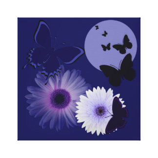 Blue Purple Butterfly and Daisy Stretched Canvas Print
