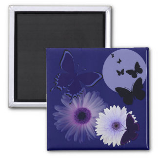 Blue Purple Butterfly and Daisy Refrigerator Magnets