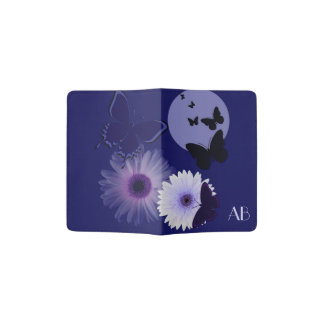 Blue Purple Butterfly and Daisy Monogrammed Passport Holder
