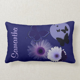 Blue Purple Butterfly and Daisy Personalized Lumbar Pillow