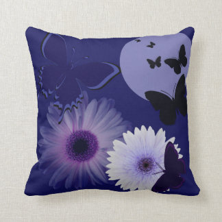Blue Purple Butterfly and Daisy Throw Pillow