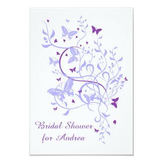 Blue Purple Butterfly Swirl Bridal Shower Custom Invitations
