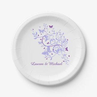 Blue Purple Butterfly Swirl Wedding 7 Inch Paper Plate