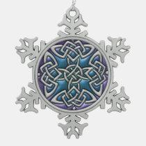 Blue Purple Celtic Knot Snowflake Ornament