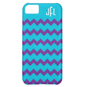 Blue & Purple Chevron Monogrammed iPhone 5 Cover For iPhone 5C