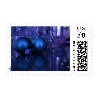 Blue & Purple Christmas Ball Decorations Postage