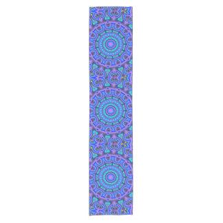 Blue & purple circle art short table runner