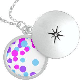 Blue Purple Circle Sterling Silver Round Locket