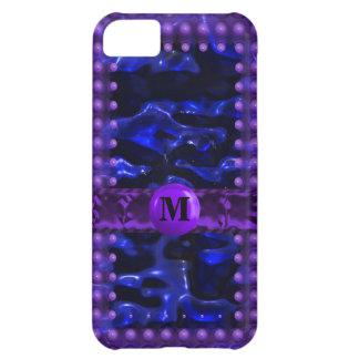 Blue & Purple Circuit Cells Monogram iPhone 5C Cases
