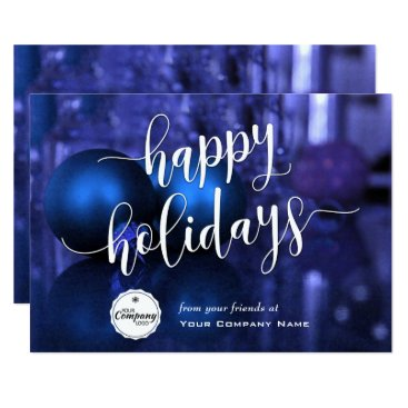 Professional Business Blue & Purple Corporate Happy Holidays Card