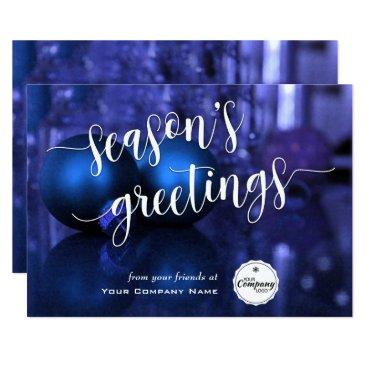 Professional Business Blue & Purple Corporate Season's Greetings Script Card