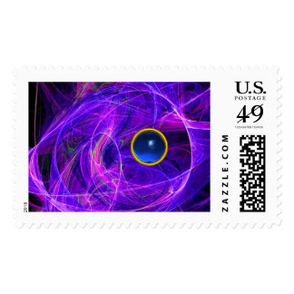 BLUE PURPLE CRAZY PHOTON WITH GEMSTONE POSTAGE STAMPS