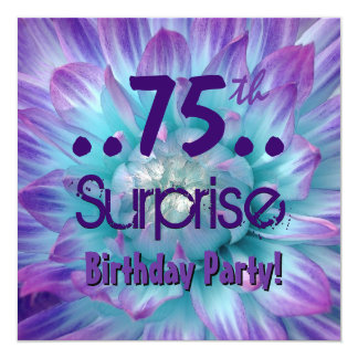 Blue Purple Dahlia 75th Surprise Birthday Party Card