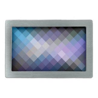 Blue Purple Diamond Cube Pattern Belt Buckle