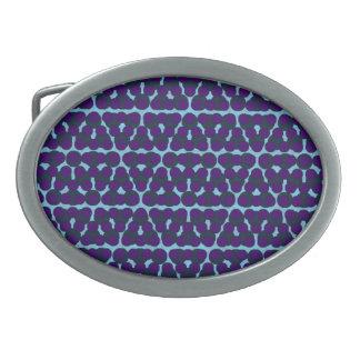 Blue Purple Dot Design Oval Buckle Belt Buckle