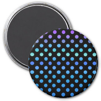 Blue Purple Dots on Black 3 Inch Round Magnet