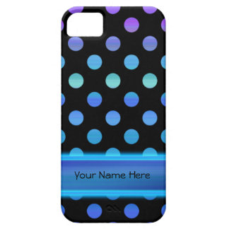Blue Purple Dots on Black iPhone 5 Cover