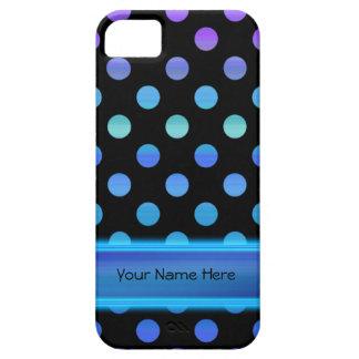 Blue Purple Dots on Black iPhone SE/5/5s Case