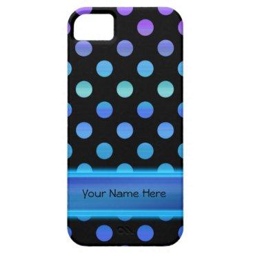 linda_mn Blue Purple Dots on Black iPhone SE/5/5s Case
