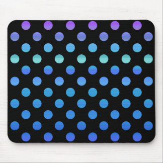 Blue Purple Dots on Black Mouse Pad