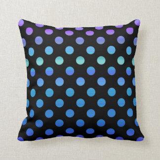 Blue Purple Dots on Black Throw Pillow