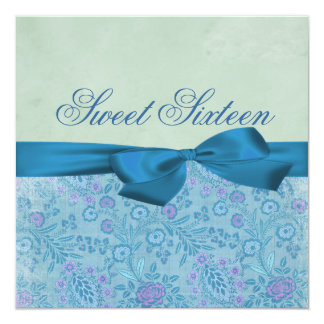 Blue & Purple Floral Bow Birthday Invitation