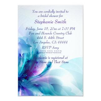 "Blue Purple Floral Design Bridal Shower Invitation 5"" X 7"" Invitation Card"