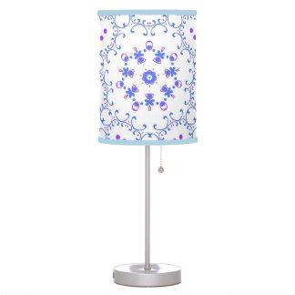 Blue, purple floral design lamp shade.