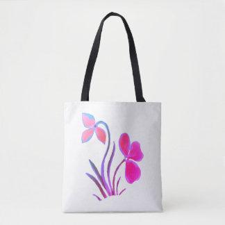 Blue Purple Floral Motif Tote Bag