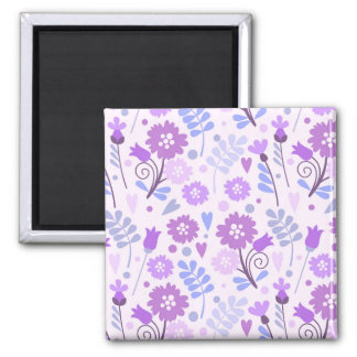 Blue Purple Floral Pattern Magnet