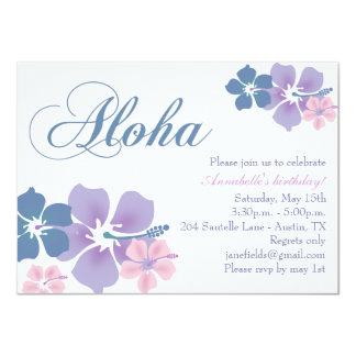 Blue & Purple Flower Aloha Birthday Invitation