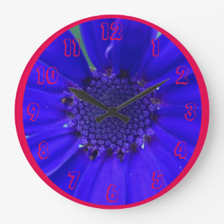 Blue Purple Flower Large Clock