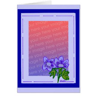 blue purple flower template card