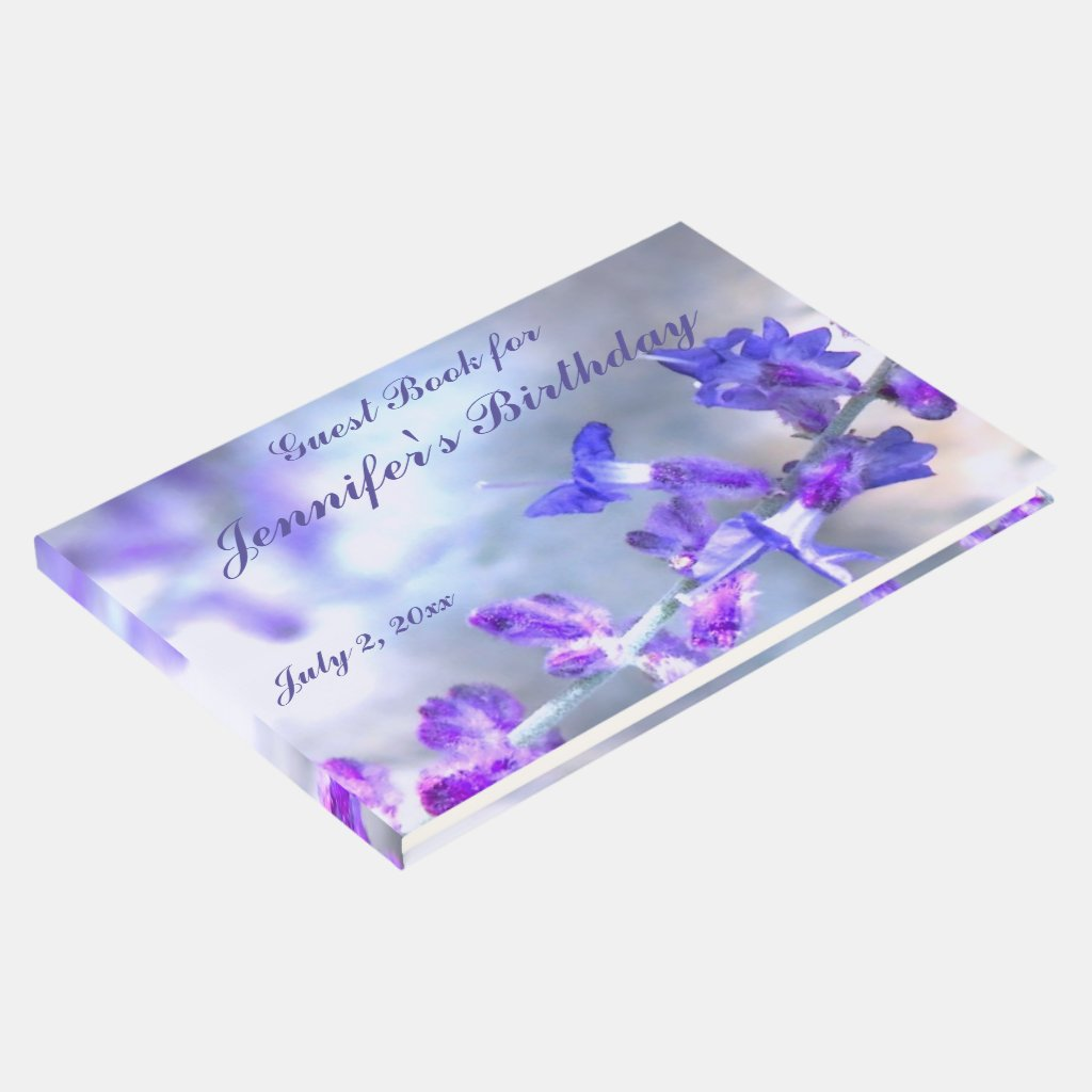 Blue Purple Flowers Birthday Party Guest Book