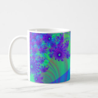 Blue Purple fractal Flowers Mug